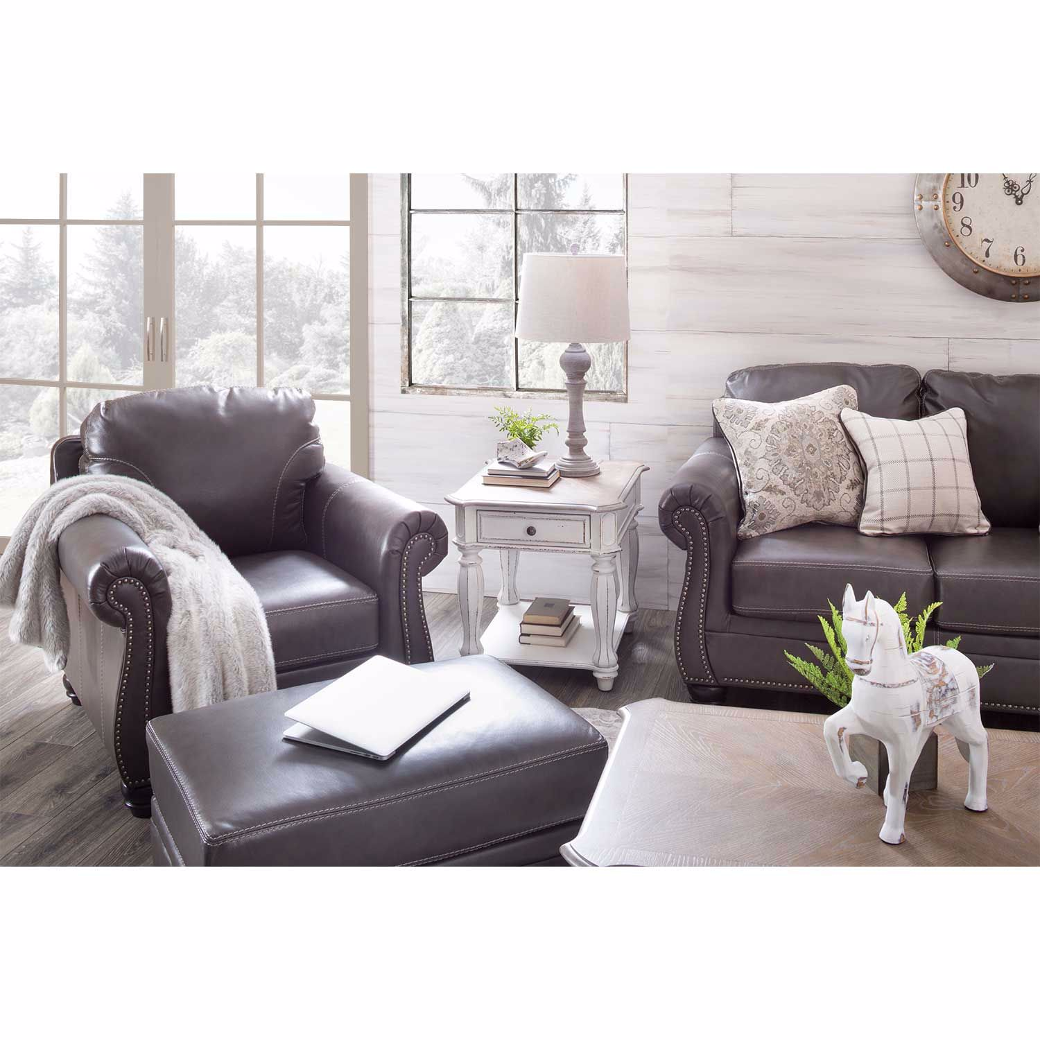 Picture of Lawthorn Slate Italian Leather Ottoman