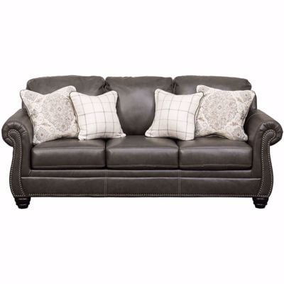 Picture of Lawthorn Slate Italian Leather Sofa