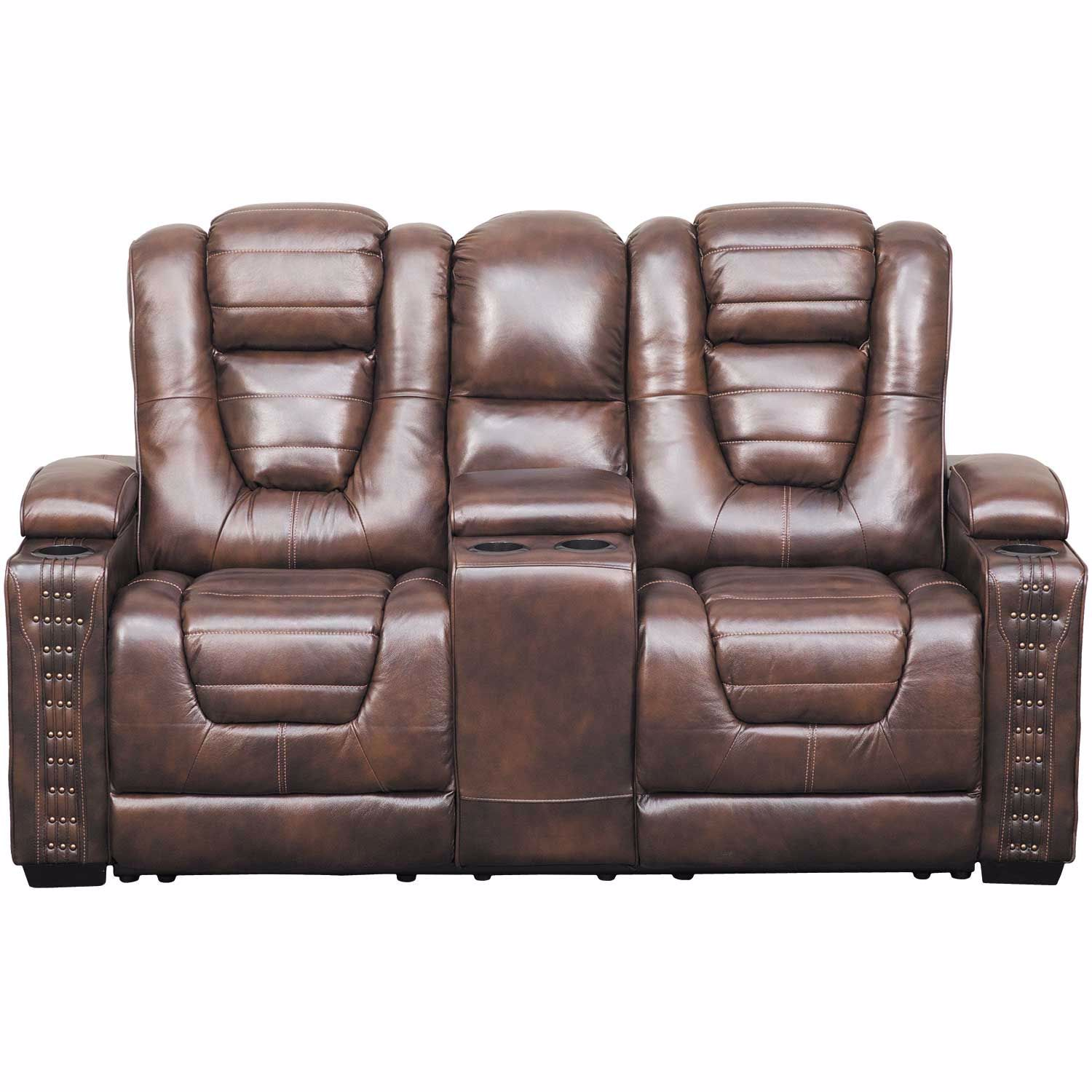 Marvelous Big Chief Power Reclining Console Loveseat With Adjustable Headrest Uwap Interior Chair Design Uwaporg
