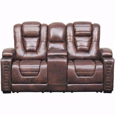 Picture of Big Chief Power Reclining Console Loveseat with Adjustable Headrest