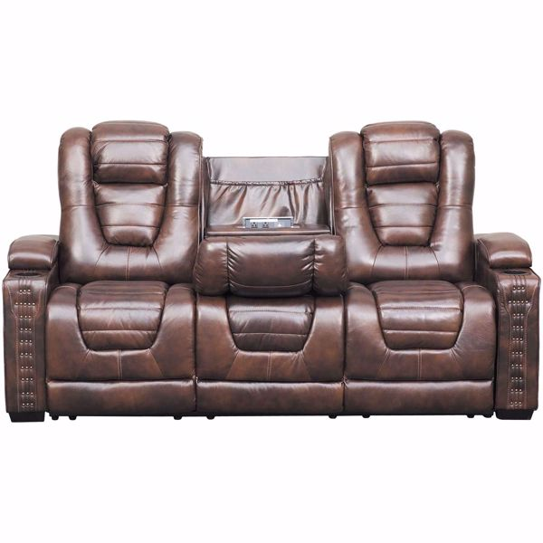 Big Chief Power Reclining Sofa w/ Drop Table and Adjustable Headrest