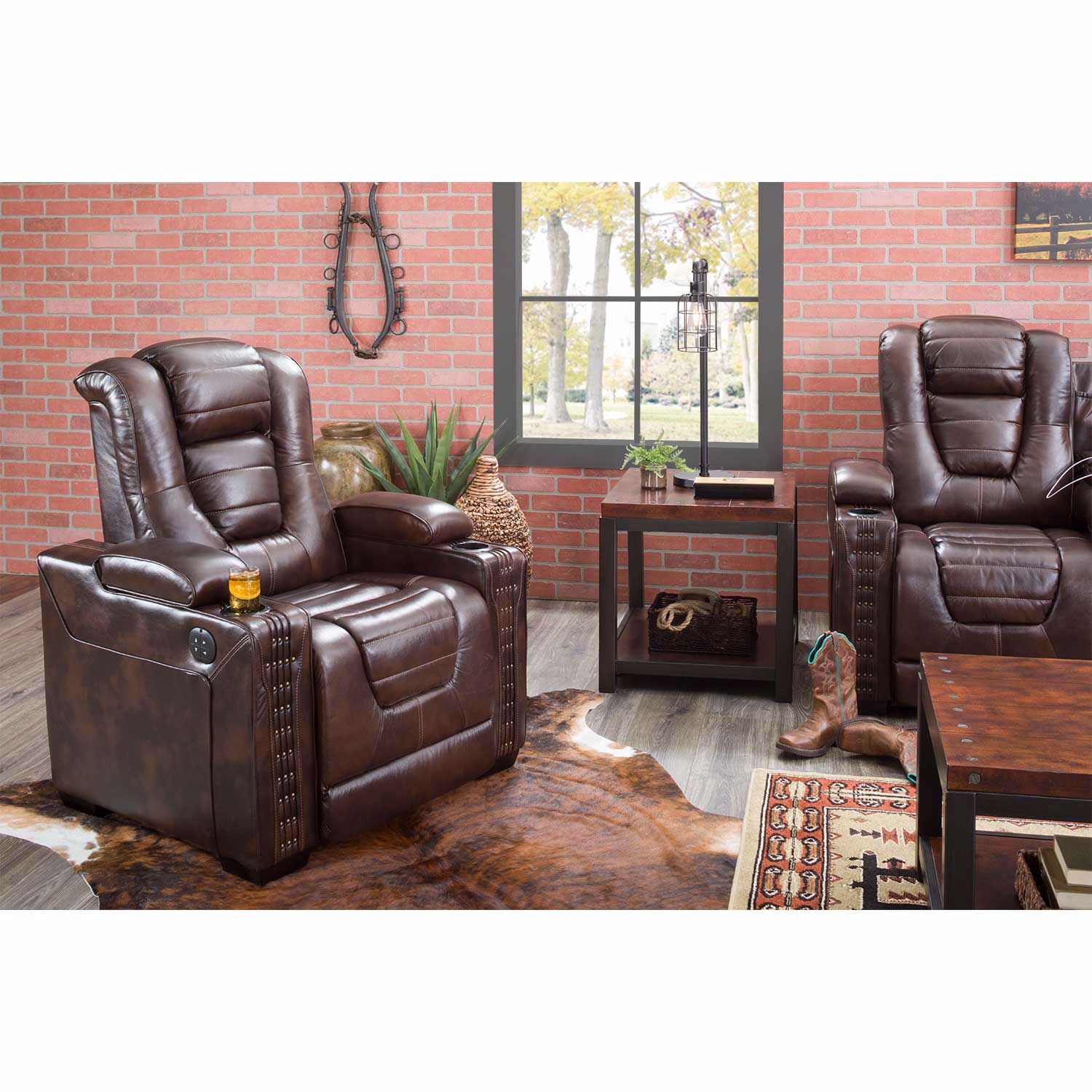 Picture of Big Chief Power Reclining Sofa w/ Drop Table and Adjustable Headrest