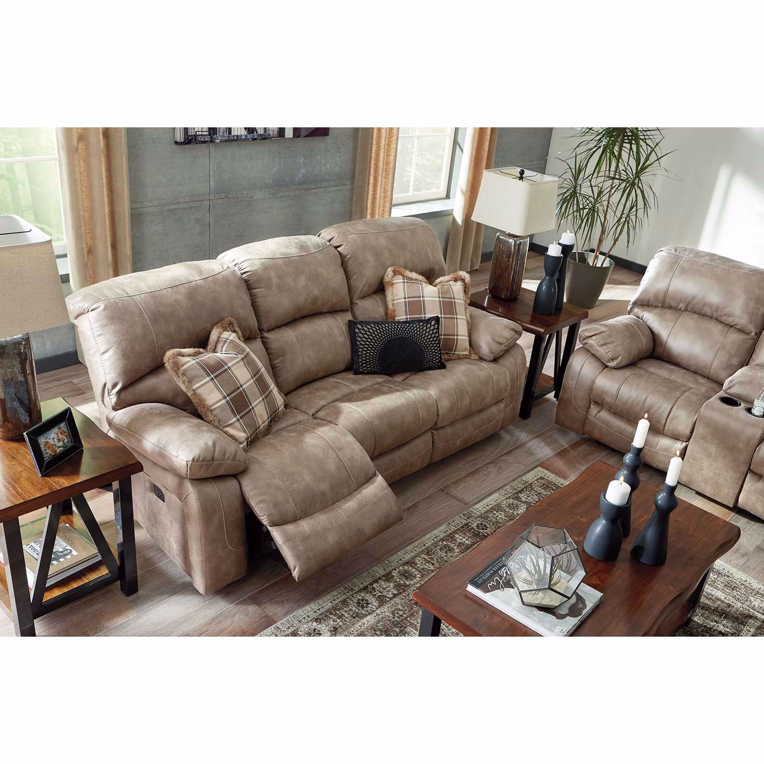 Picture of Dunwell Driftwood Power Reclining Console Loveseat with Adjustable Headrest