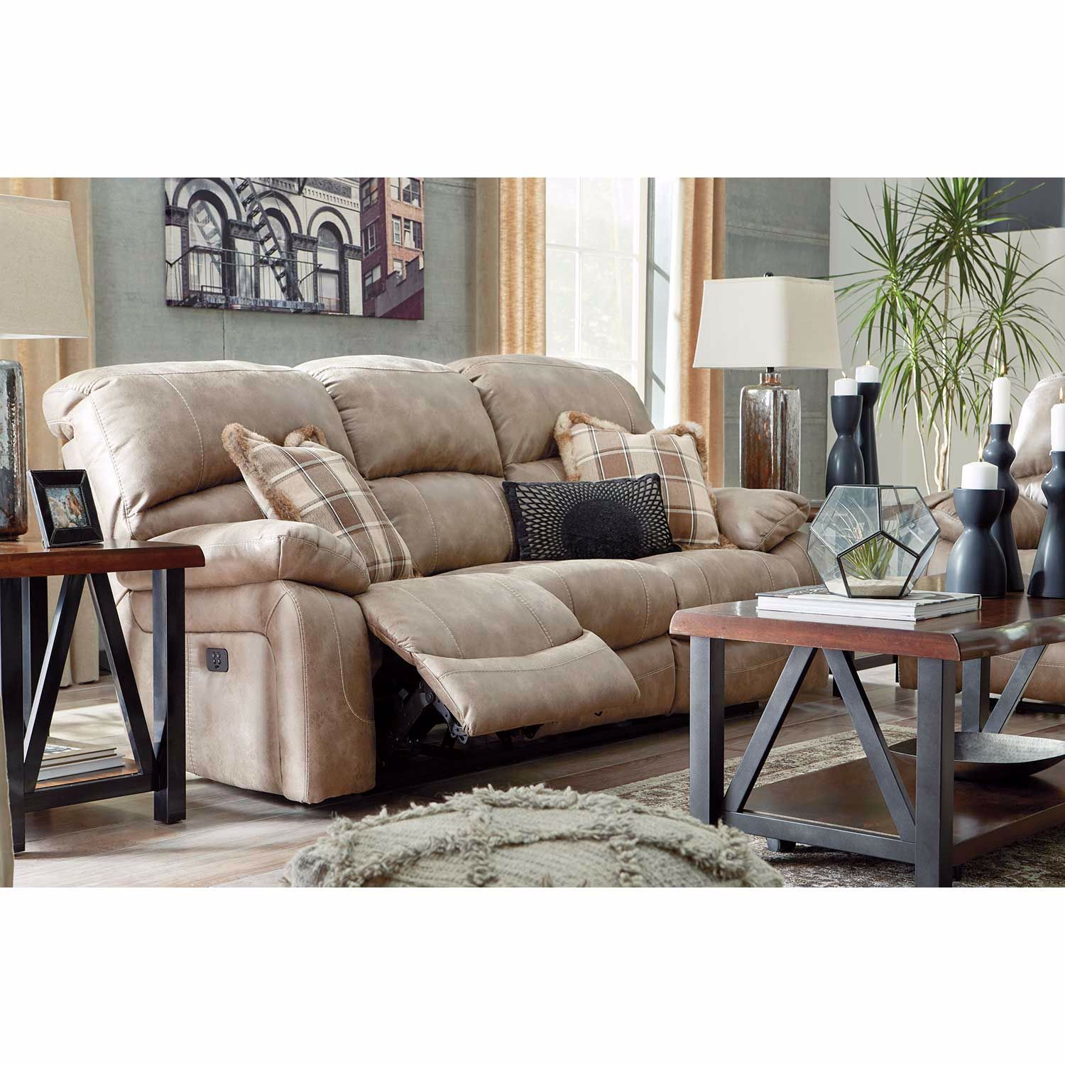 Picture of Dunwell Driftwood Power Reclining Sofa with Adjustable Headrest