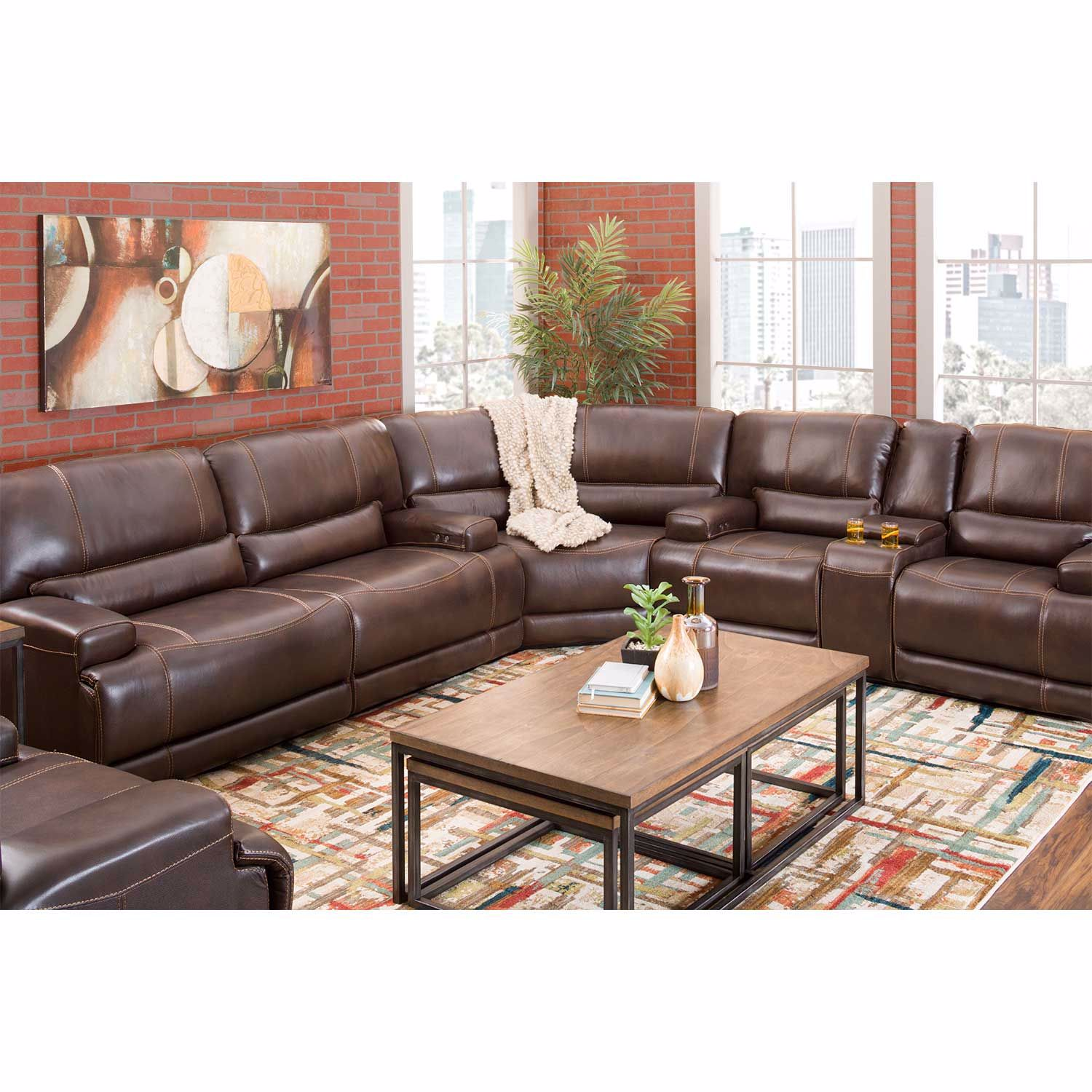 Picture of Jax Brown 3 PC Leather Power Recline Sectional