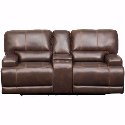 Picture of Jax Brown Leather Power Recline Console Loveseat