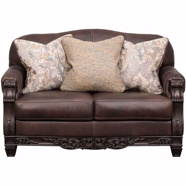 Picture of Embrook Chocolate Leather Loveseat