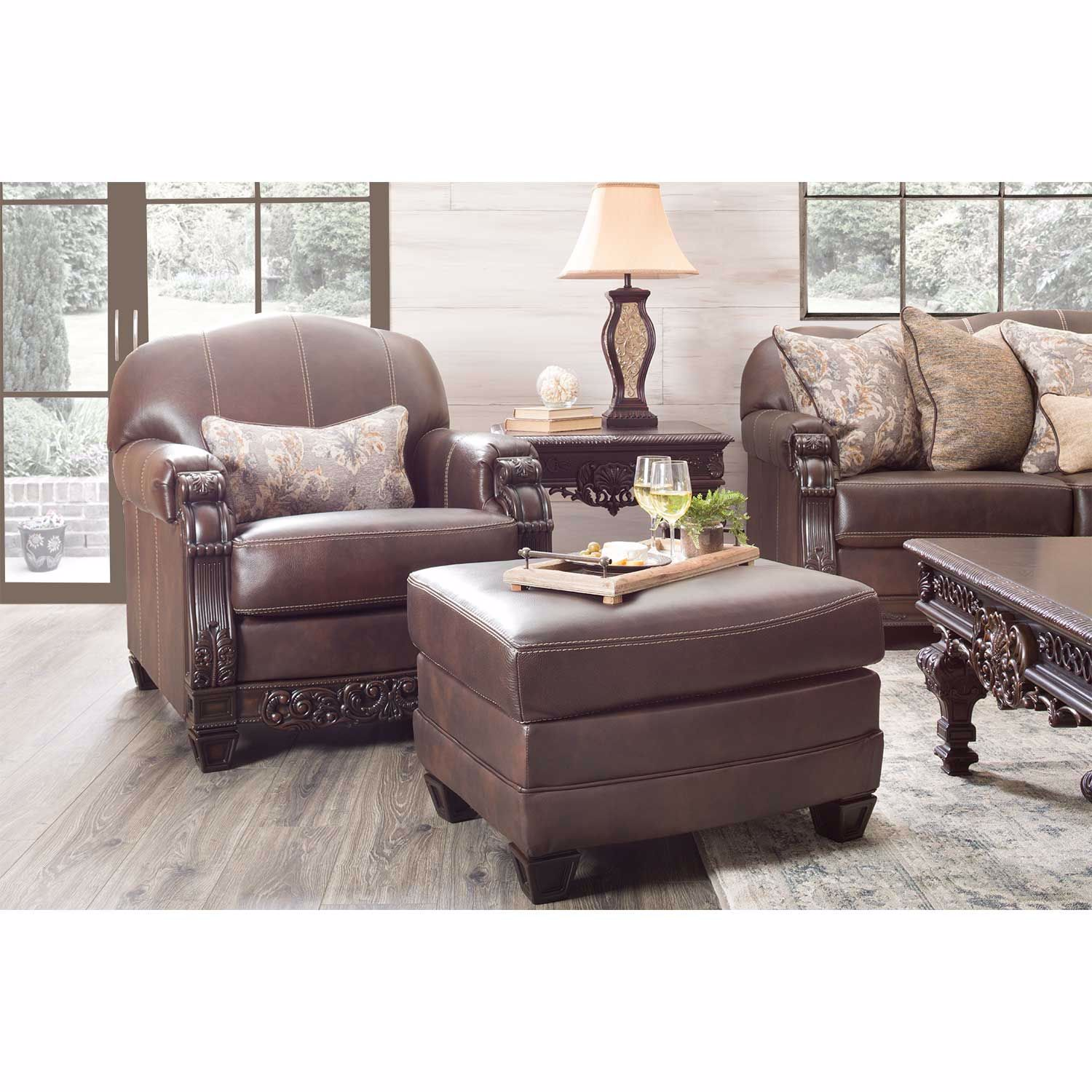 Picture of Embrook Chocolate Leather Ottoman