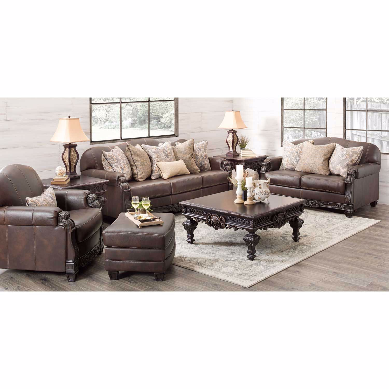 Picture of Embrook Chocolate Leather Sofa