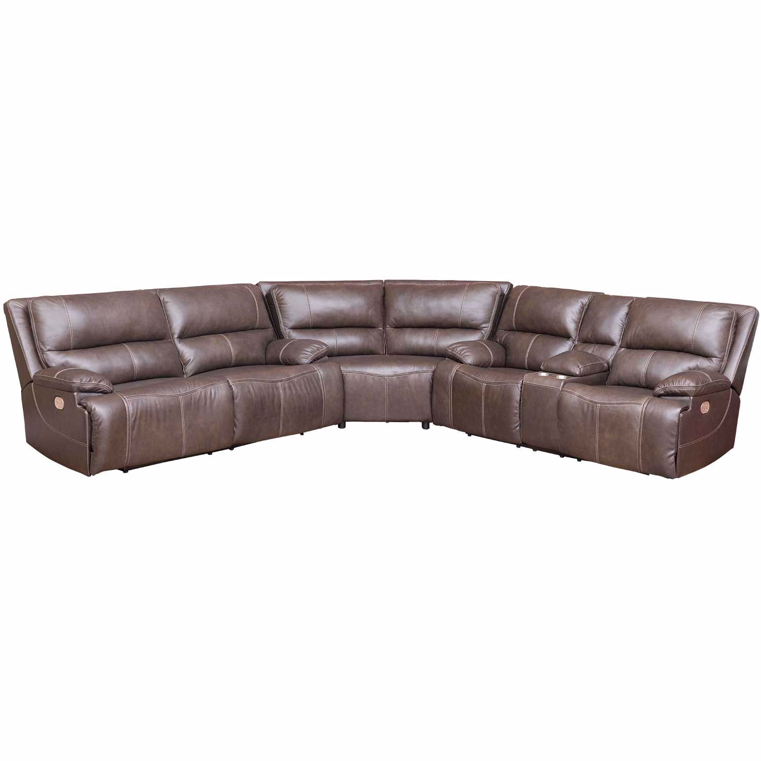 Ricmen Walnut 3 Piece Italian Leather Power Reclining Sectional with  Adjustable Headrest