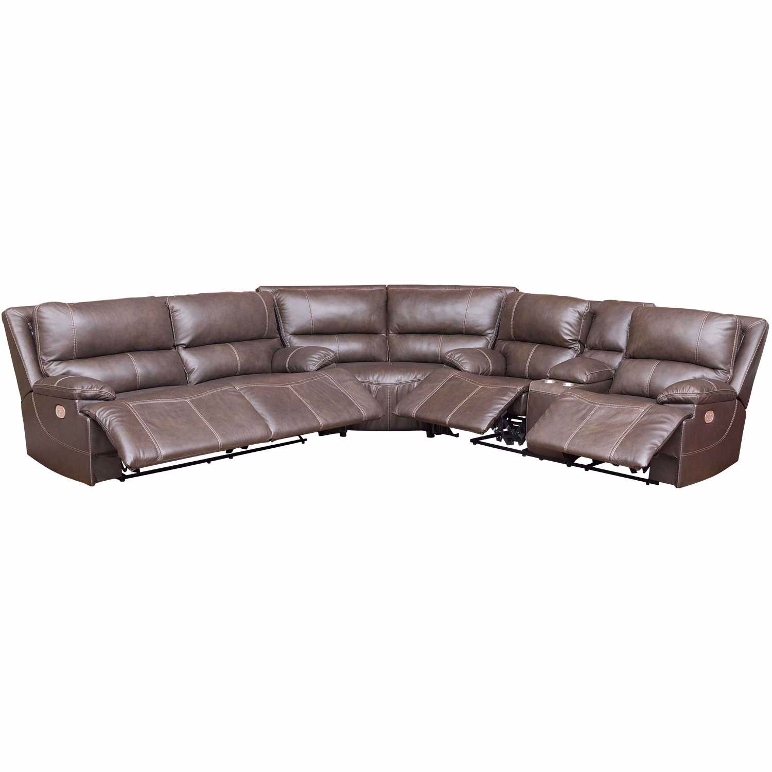 Pleasant Ricmen Walnut 3 Piece Italian Leather Power Reclining Sectional With Adjustable Headrest Ocoug Best Dining Table And Chair Ideas Images Ocougorg