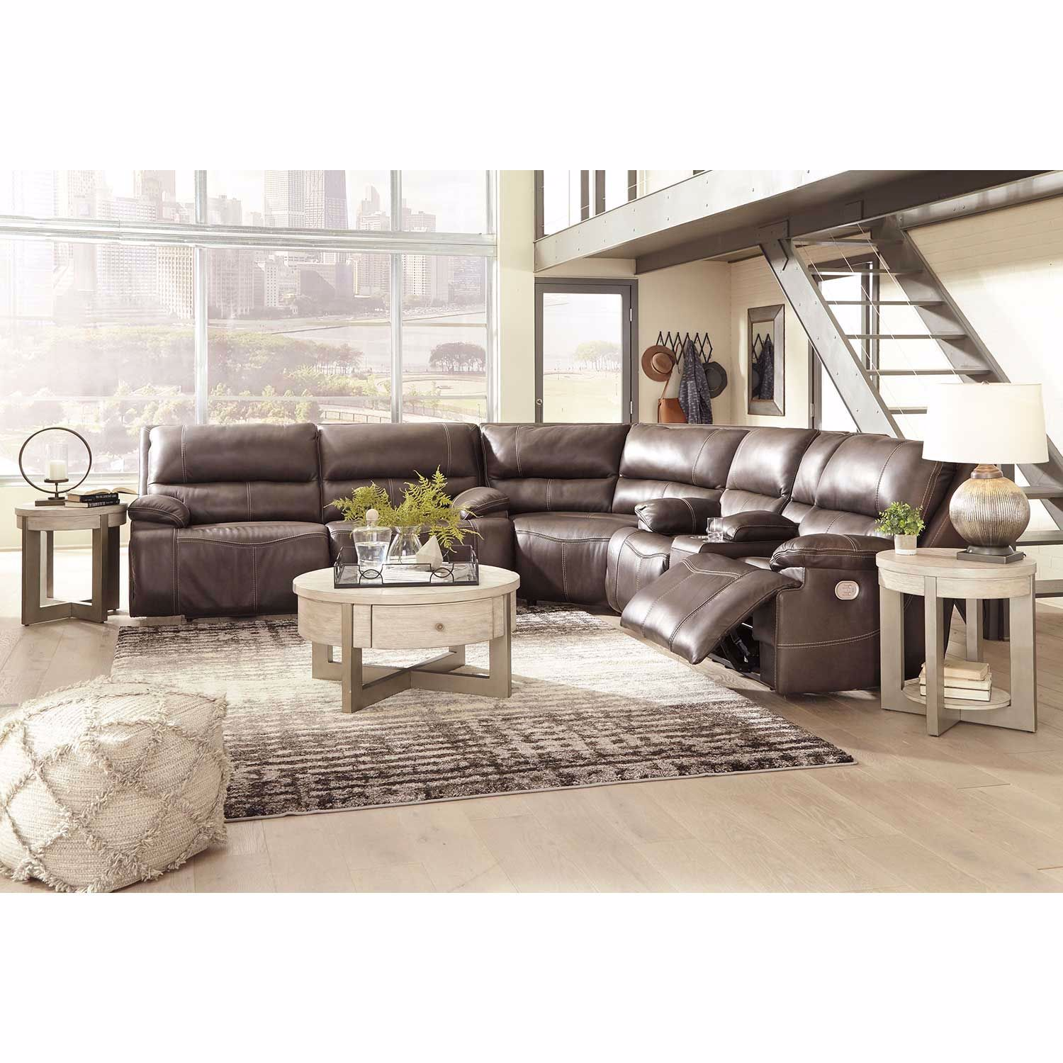 Picture of Ricmen Walnut 3 Piece Italian Leather Power Reclining Sectional with Adjustable Headrest