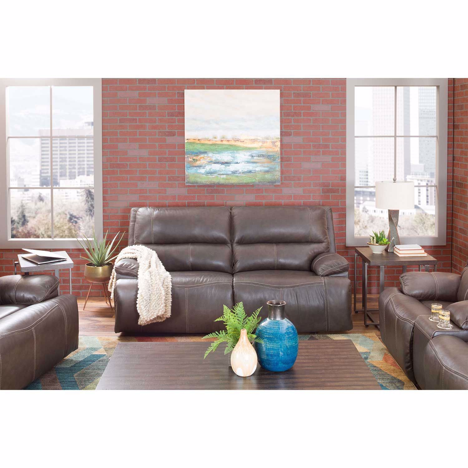 Picture of Ricmen Walnut Italian Leather Power Reclining Console Love with Adjustable Headrest