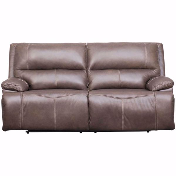 Picture of Ricmen Walnut Italian Leather Power Reclining Sofa with Adjustable Headrest