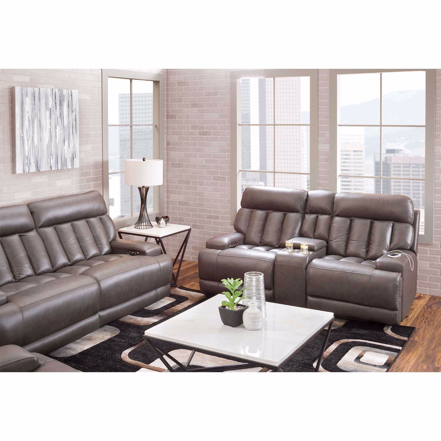 Picture of Steel Leather Power Recline Console Loveseat with