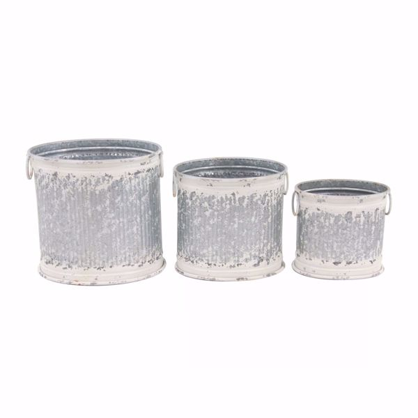 Picture of Set of 3 White Wash Planters
