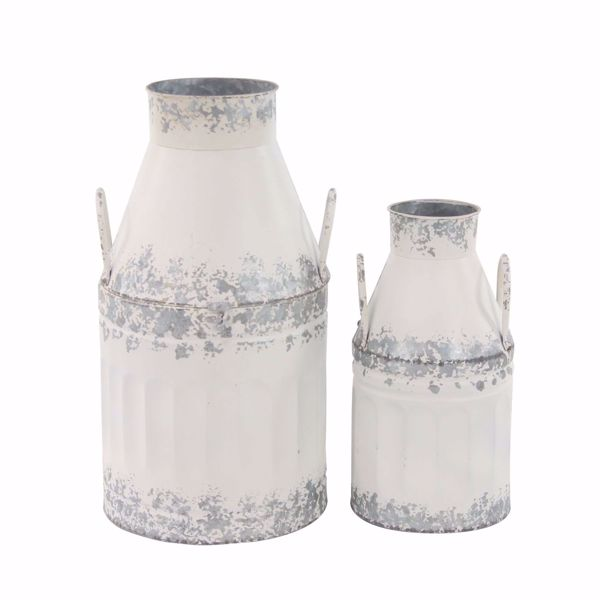 Picture of Set of 2 White Milk Cans