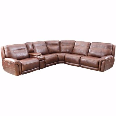 Picture of Dean 6 Piece Leather Power Reclining Sectional with Adjustable Headrests