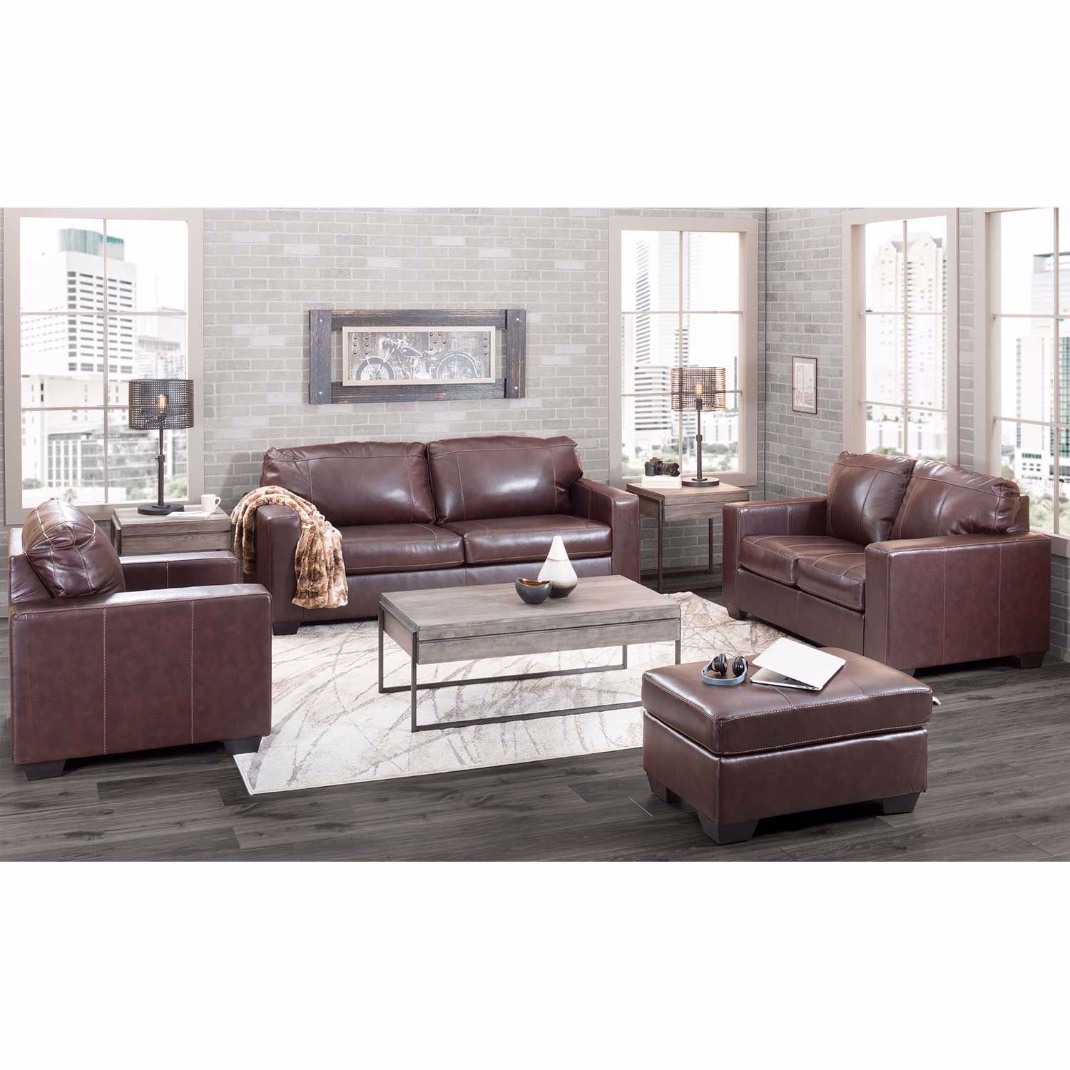 Picture of Morelos Brown Italian Leather Loveseat