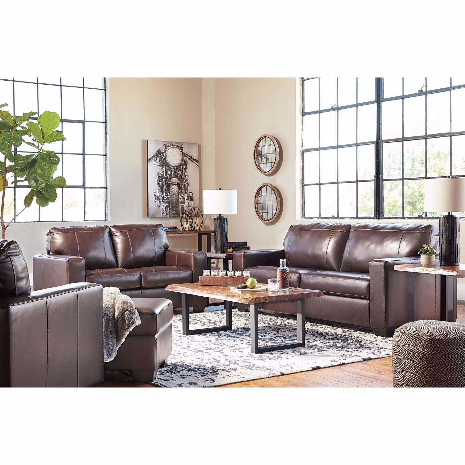Picture of Morelos Brown Italian Leather Ottoman