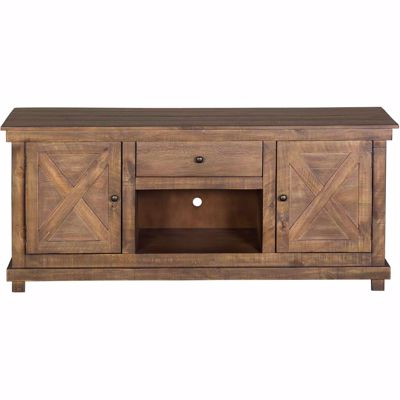 Picture of X Door TV Console, Aged Pine