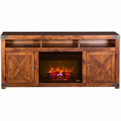 "Picture of Urban Farmhouse 72"" Fireplace Console, Fruitwood"