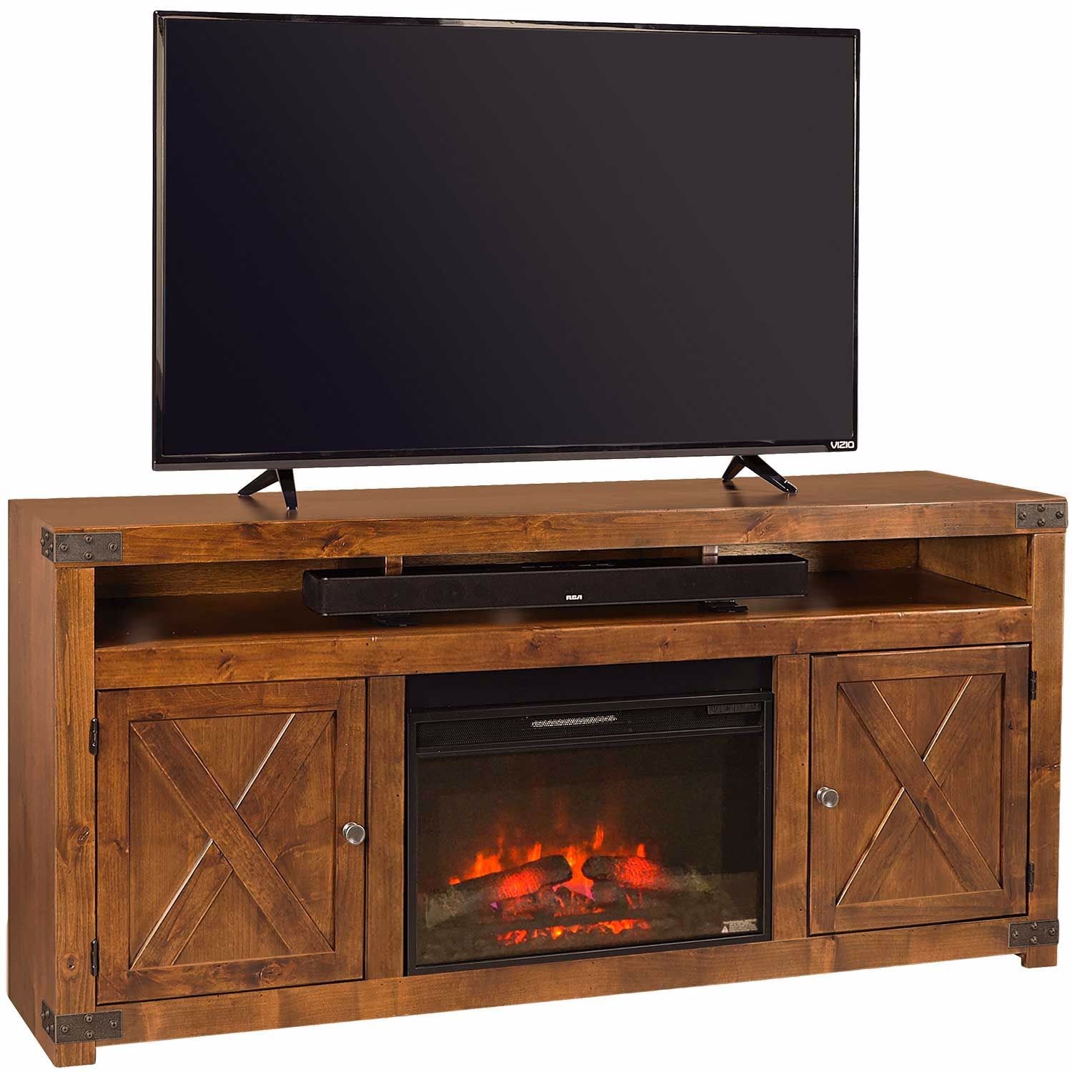 """Picture of Urban Farmhouse 72"""" Fireplace Console, Fruitwood"""