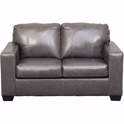 Picture of Morelos Gray Italian Leather Loveseat