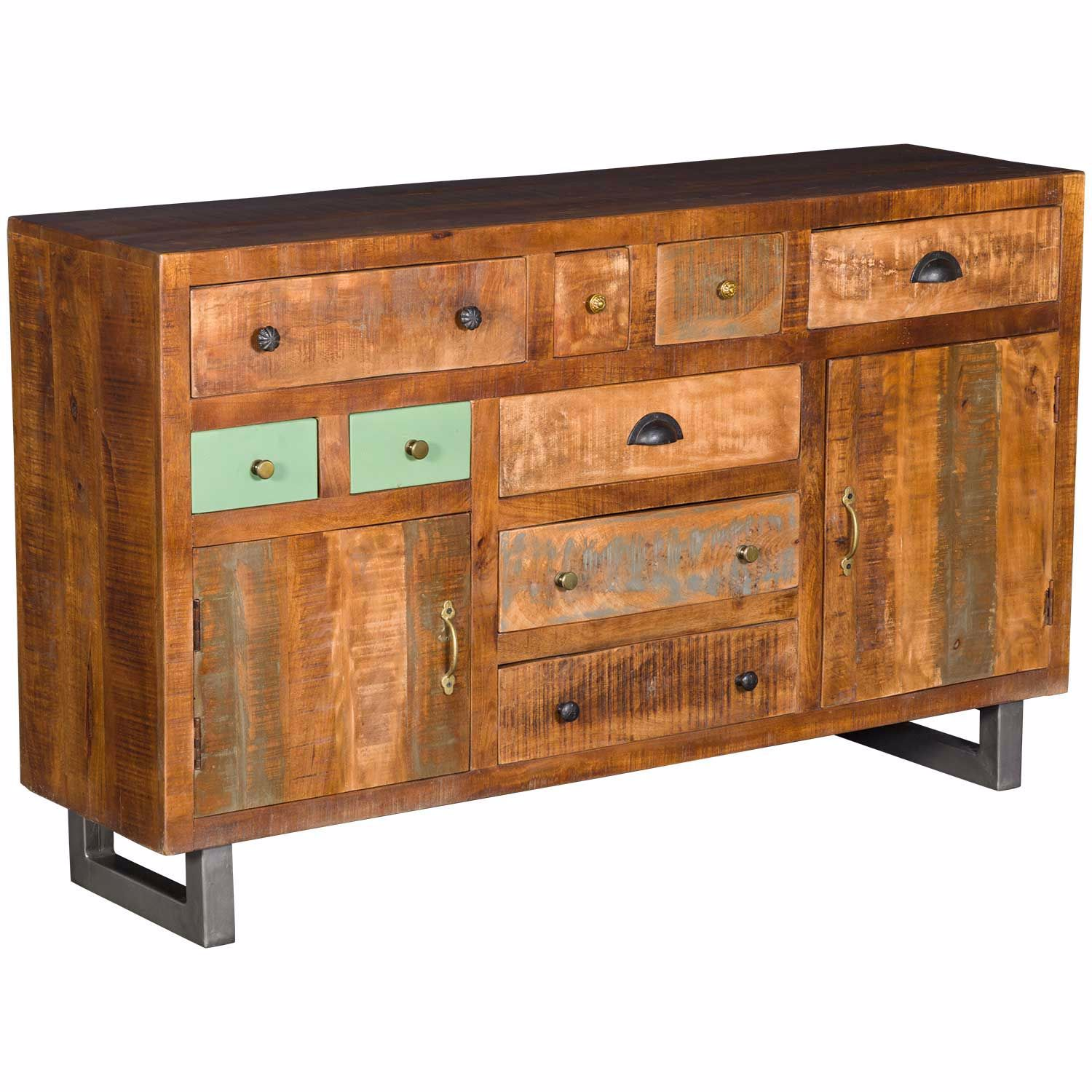 Picture of 9 Drawer Rustic Chest With Iron Base