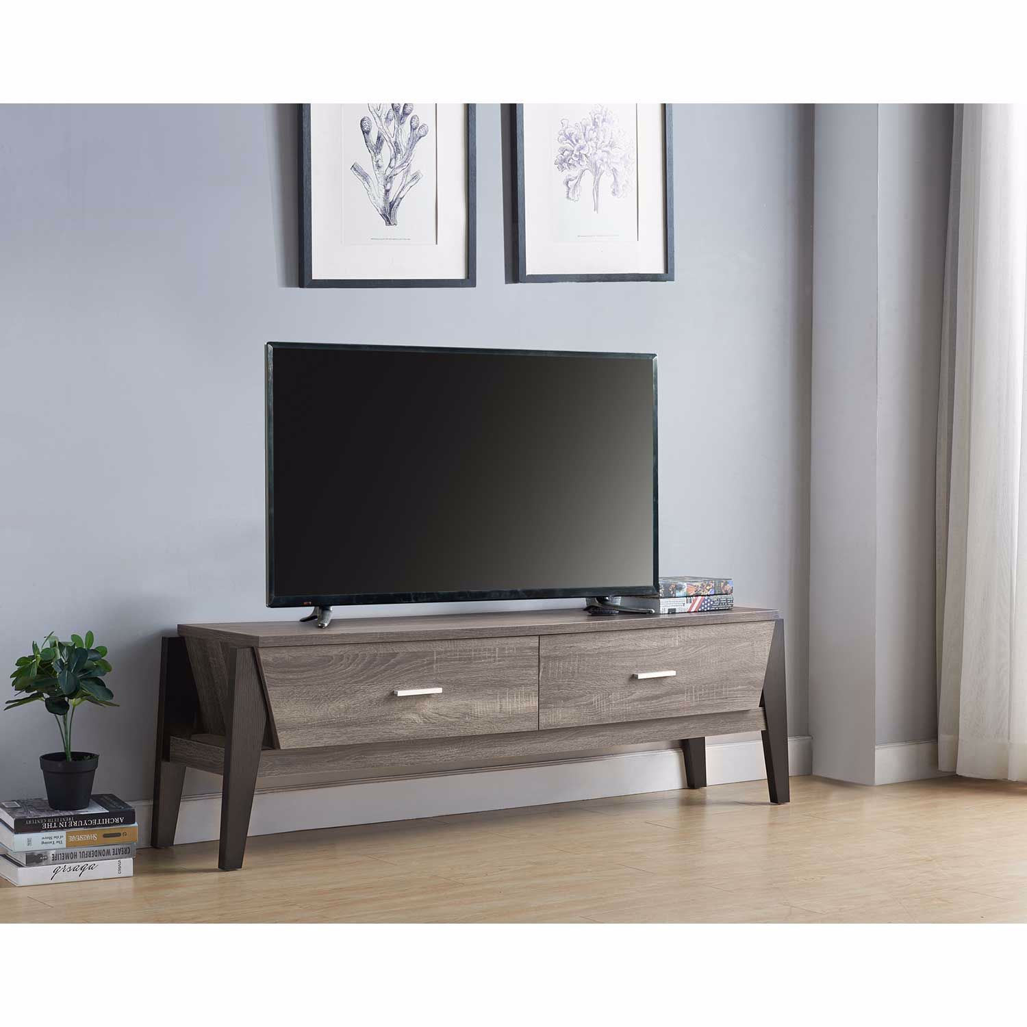 Picture of Gray and Black TV Stand