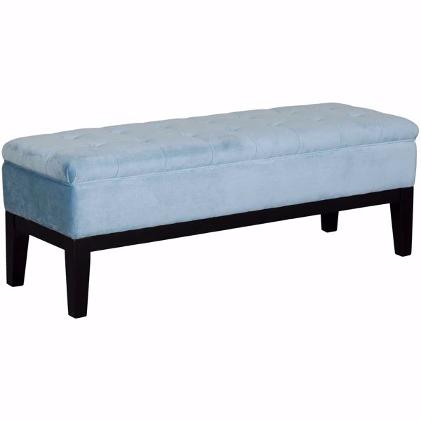 Picture of Emily Blue Tufted Storage Bench