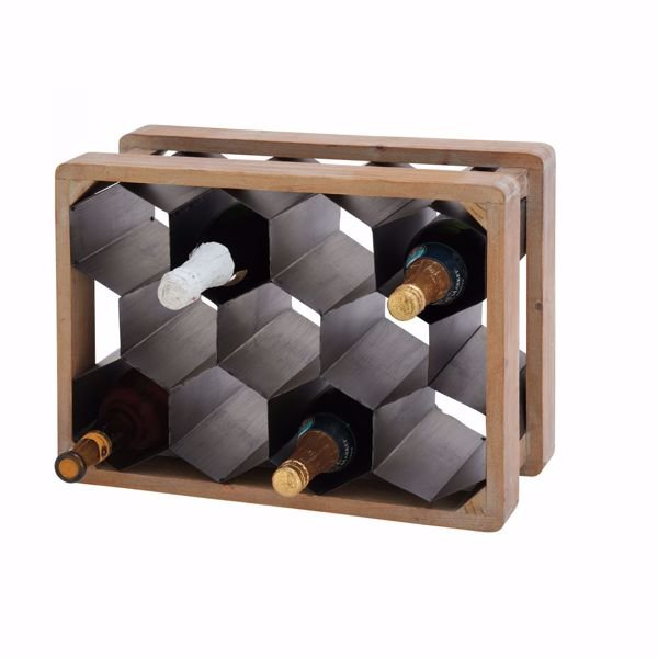 Picture of Metal Wood Wine Holder