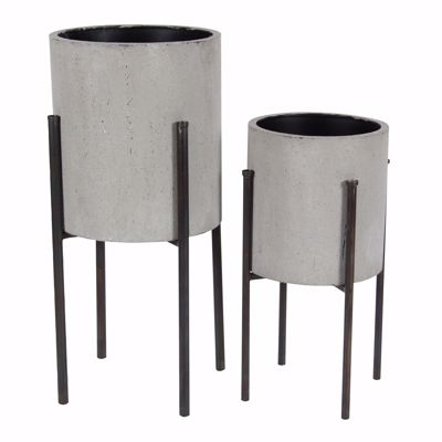 Picture of Set of 2 Metal Planters on Stand