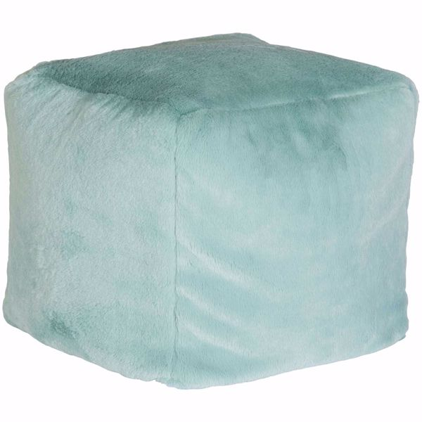 Picture of Blue Faux Rabbit Fur Pouf *P