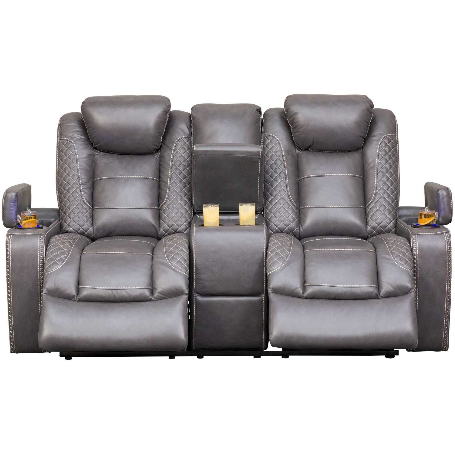 Picture of Orion Power Reclining Console Loveseat with Adjustable Headrest and Drop Down Table