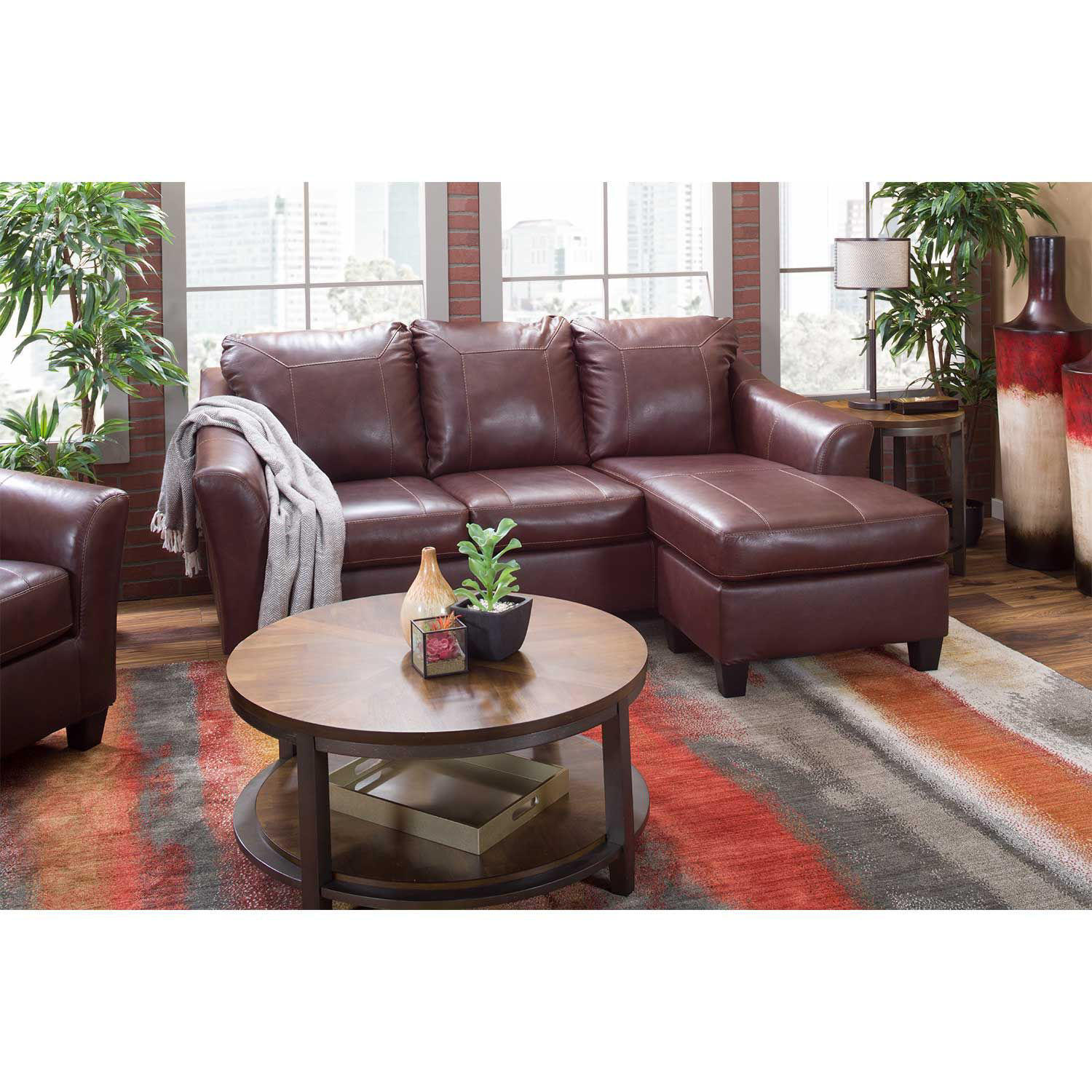 Picture of Fortney Mahogany Italian Leather Chair