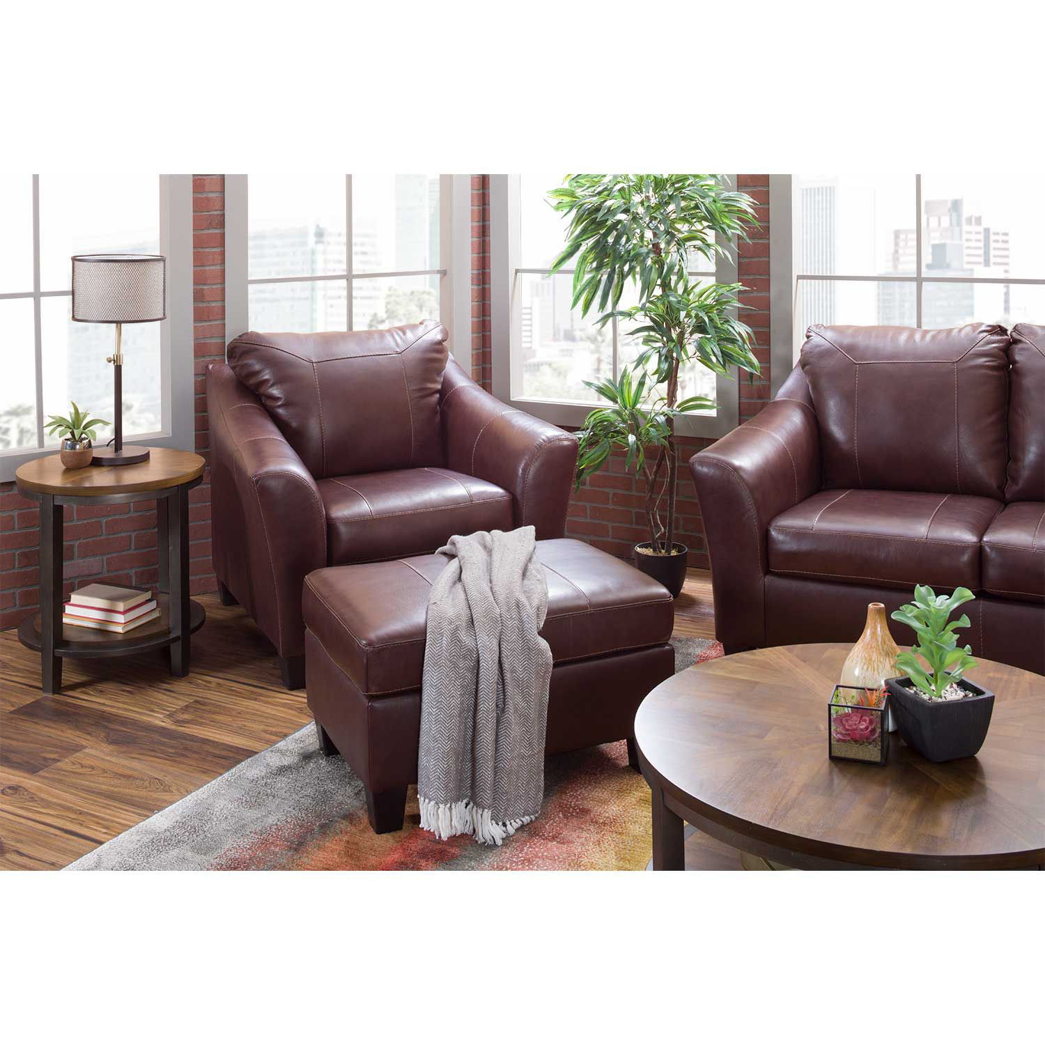 Picture of Fortney Mahogany Italian Leather Ottoman