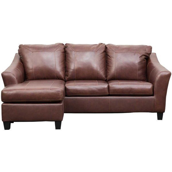 Picture of Fortney Mahogany Italian Leather Reversible Sofa Chaise