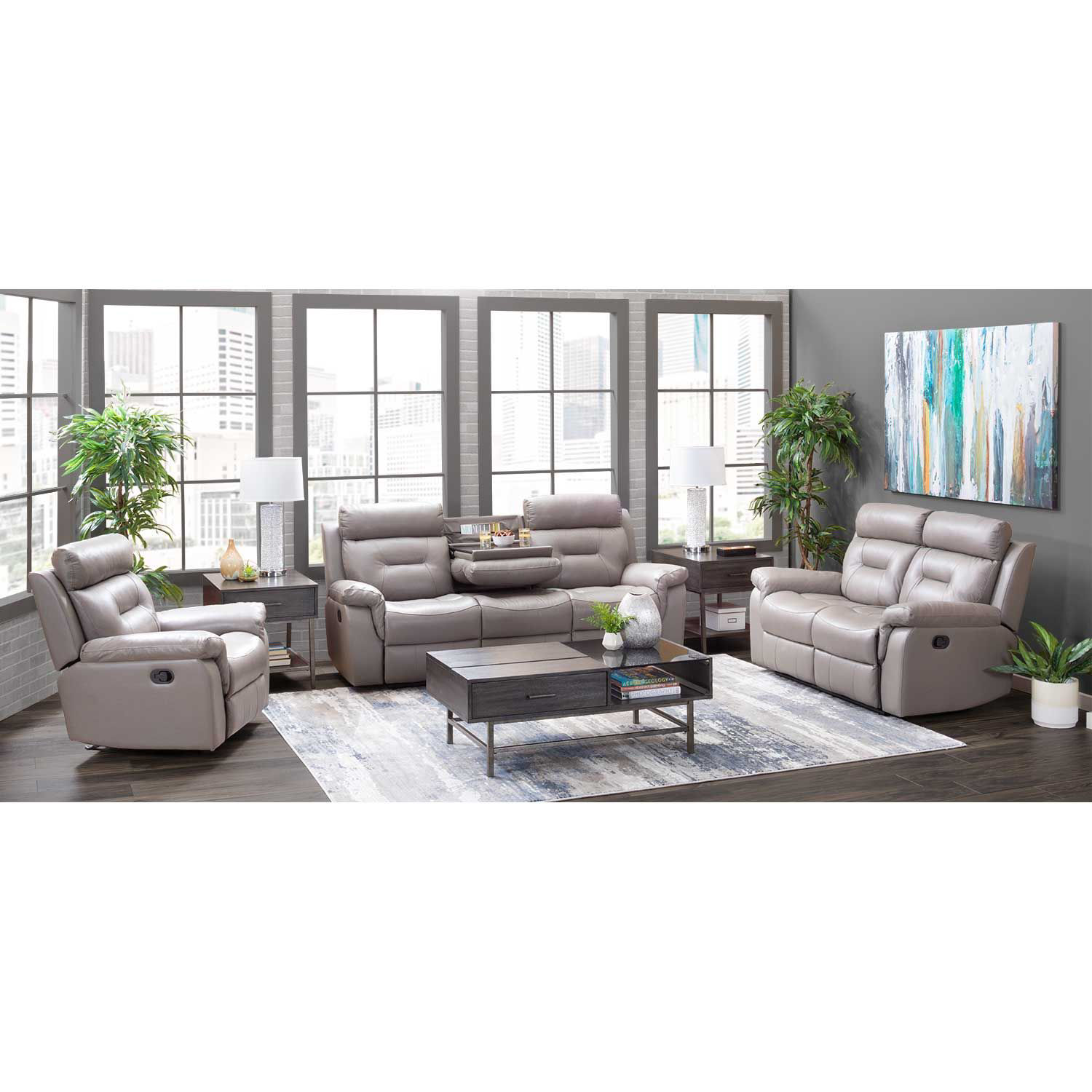 Picture of Watson Light Gray Leather Reclining Loveseat
