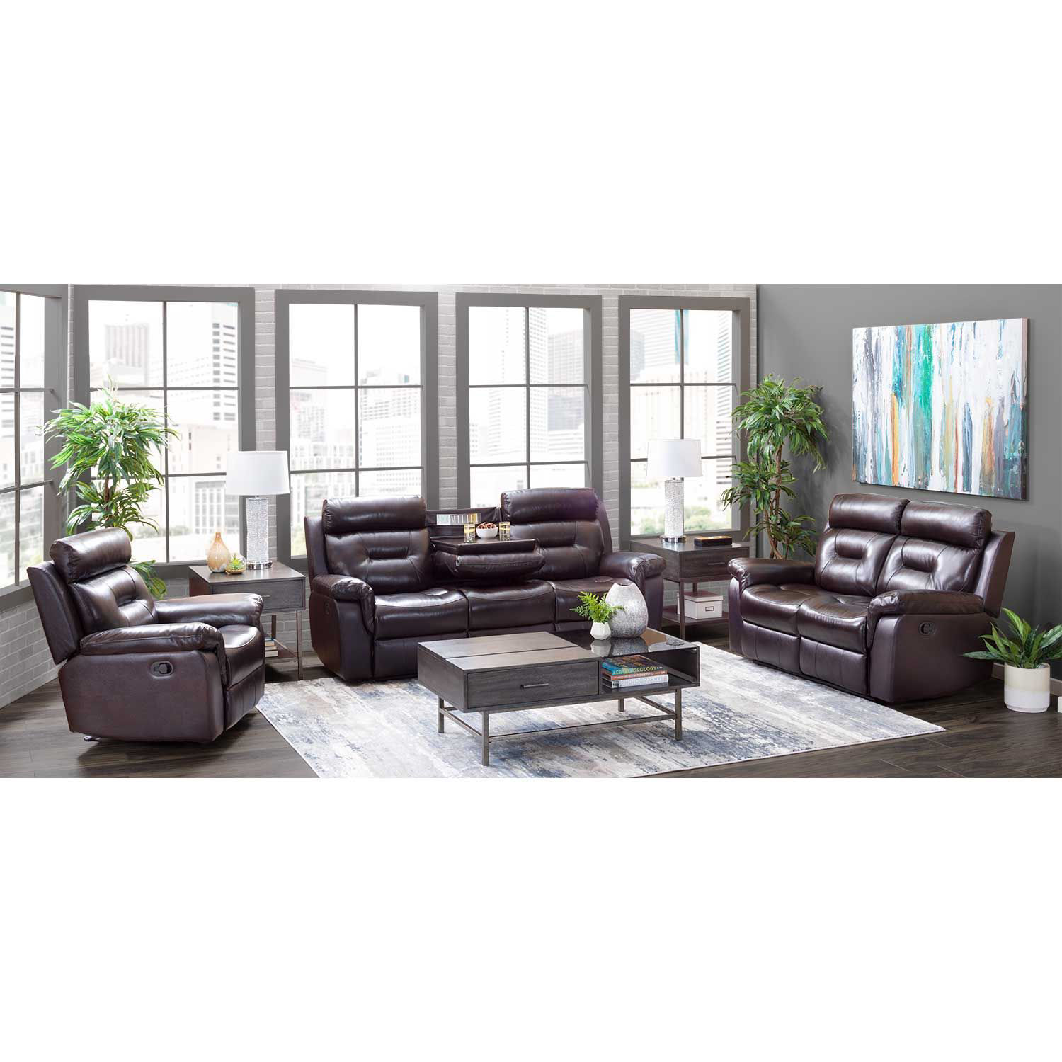 Picture of Watson Brown Leather Reclining Sofa with Drop Down Table