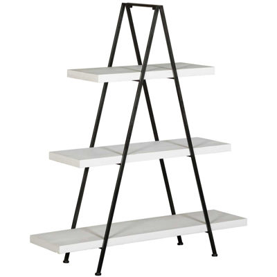 Picture of White Wood And Metal Triangle Shelf