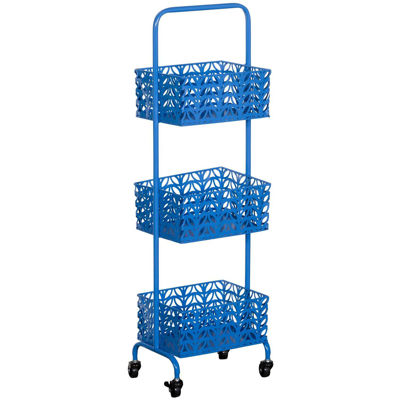 Picture of Blue Three Tier Metal Basket Cart