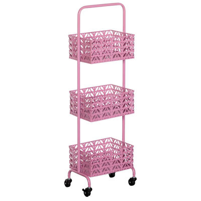 Picture of Pink Three Tier Metal Basket Cart