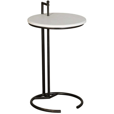 Picture of White Metal and Wood Accent Table