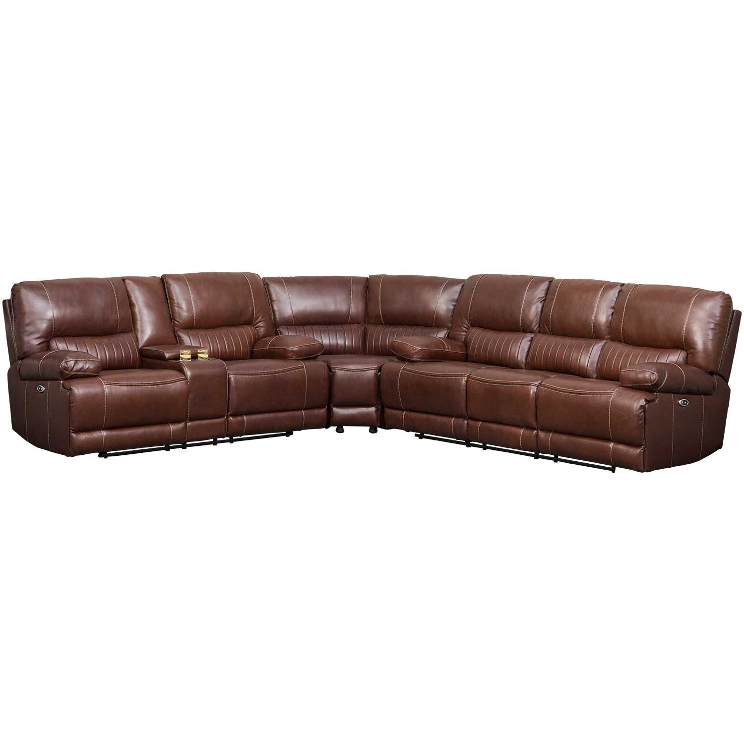 Picture of 3PC Brown Leather Reclining Sectional