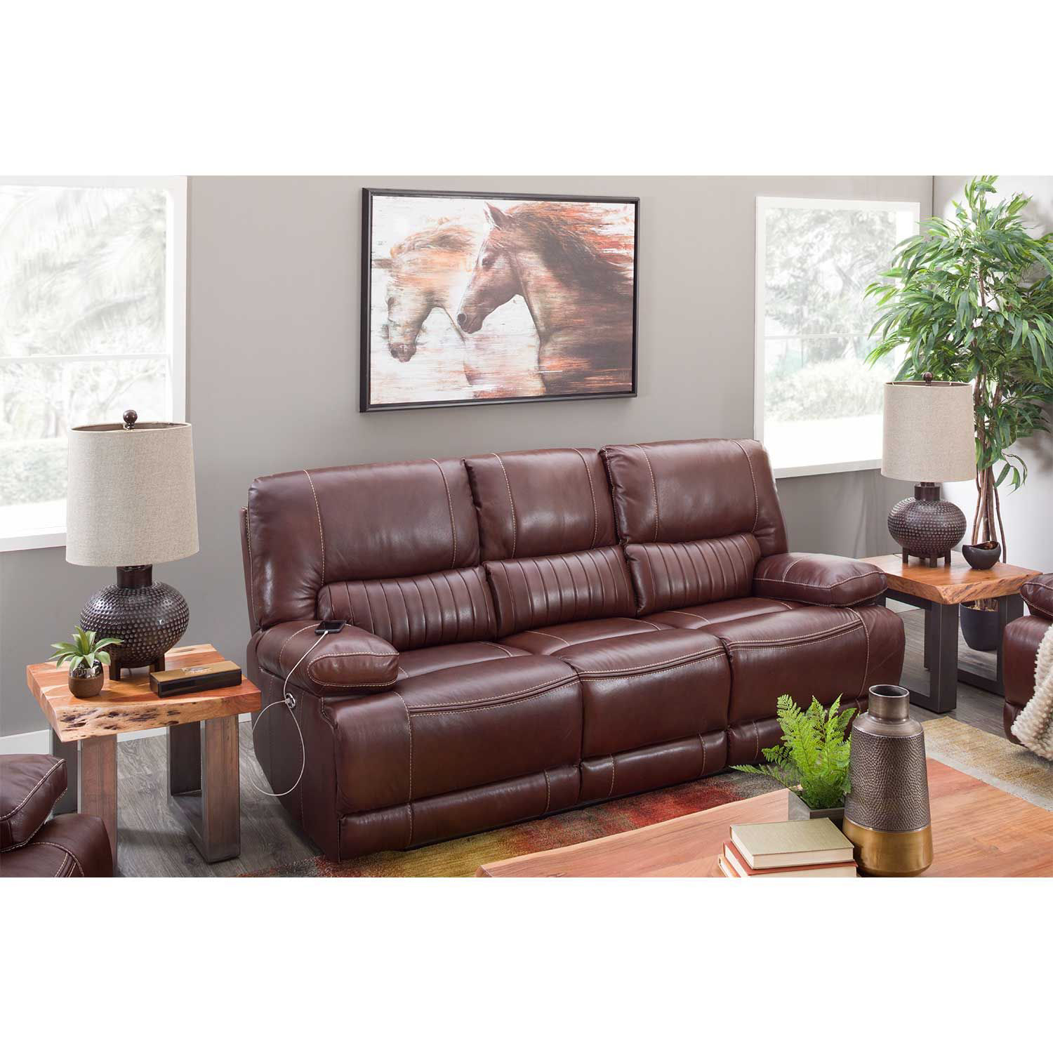 Picture of Rigby Brown Leather Recline Sofa