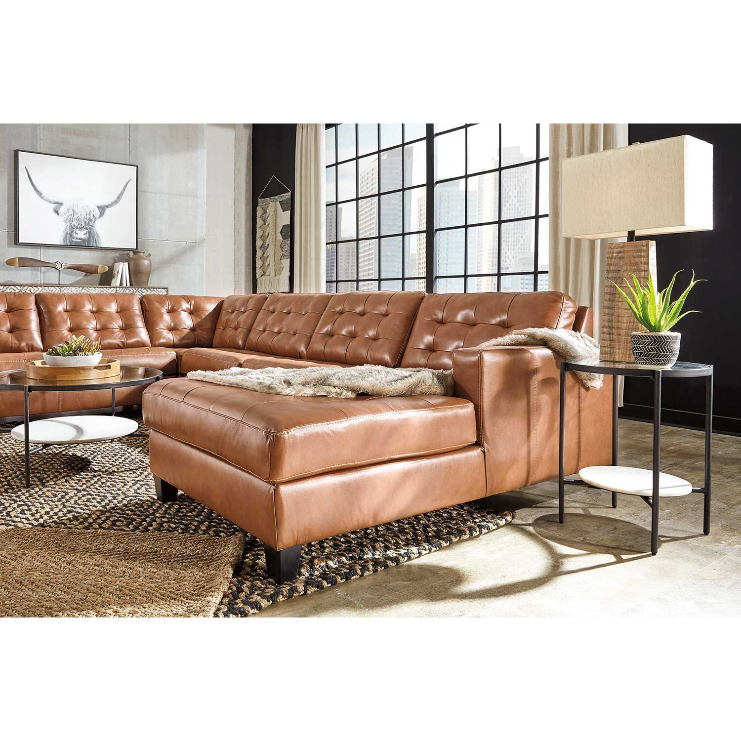 Picture of 4pc Italian Leather Sectional with LAF Chaise