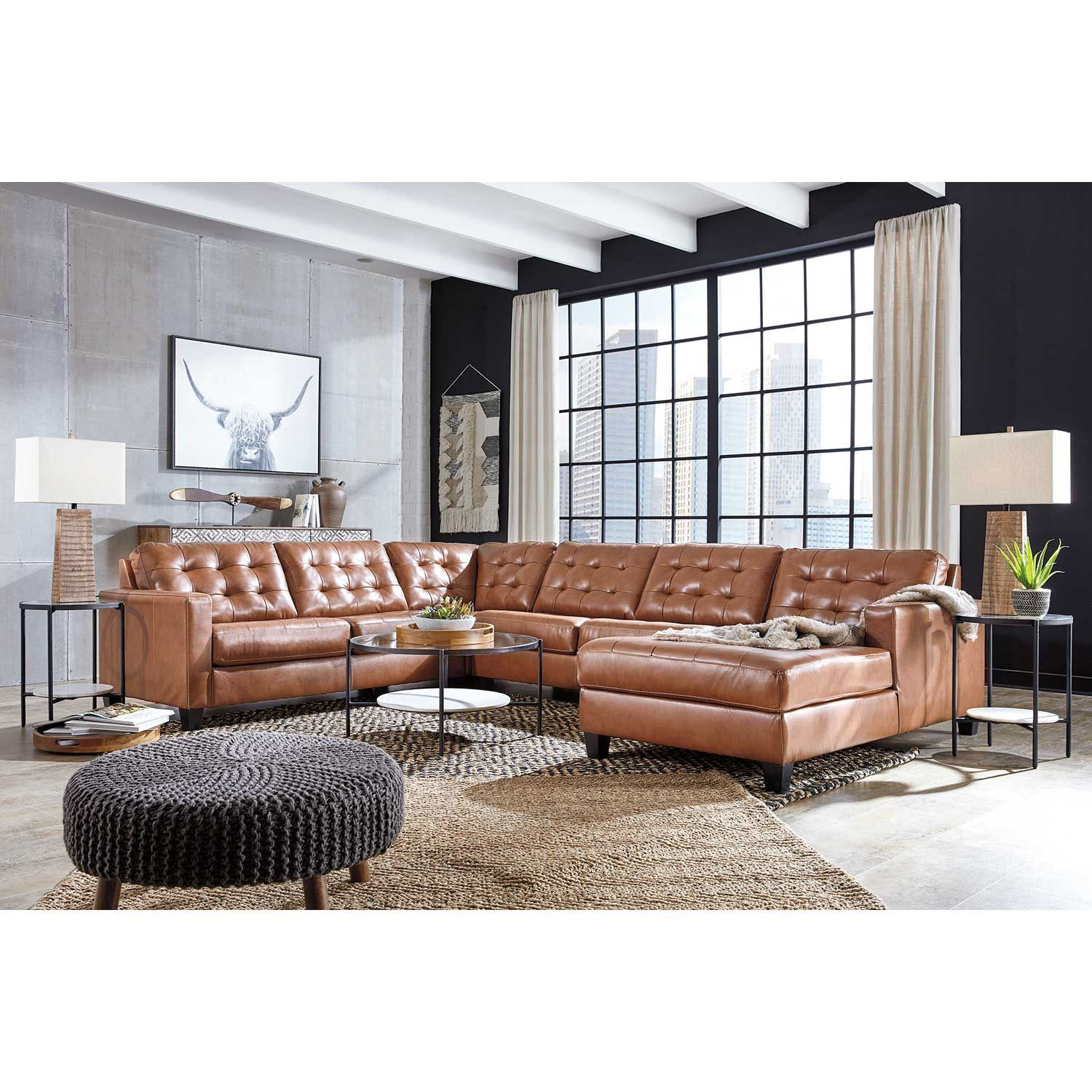 Picture of 4pc Italian Leather Sectional with RAF Chaise