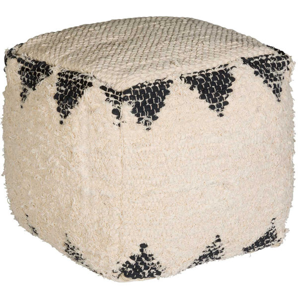 Picture of Calif Ivory Black Cotton Pouf *P