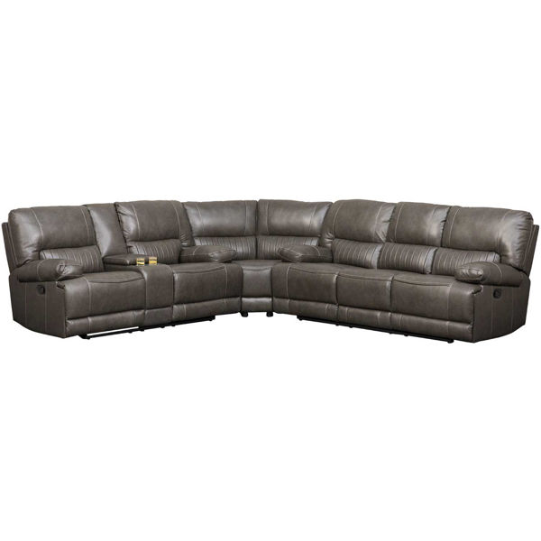 Picture of 3PC Gray Leather Reclining Sectional